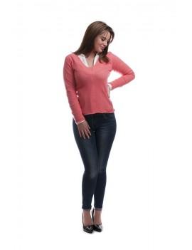 Whole garment v-neck
