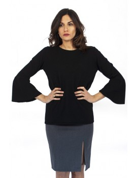 Crew-neck puffed sleeves