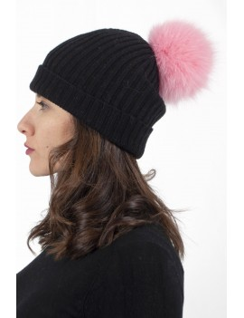 Ribbed cap with pom-pom...