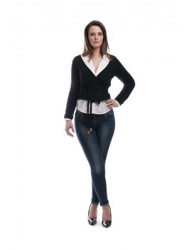 Short cardigan with tie belt