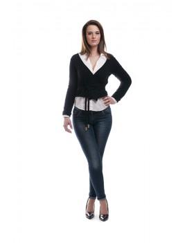 Short cardigan with tie belt