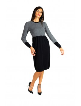 Two-tone cashmere dress