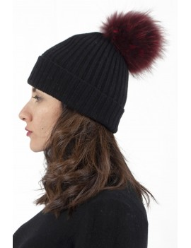 Ribbed Cashmere Hat With...