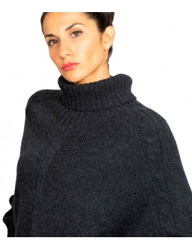 Turtle neck poncho with...