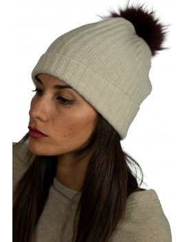 Ribbed Cashmere Cap  With...