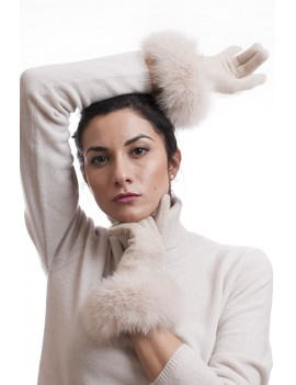 Cashmere glove with fur