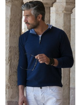 Half zip mixed cashmere